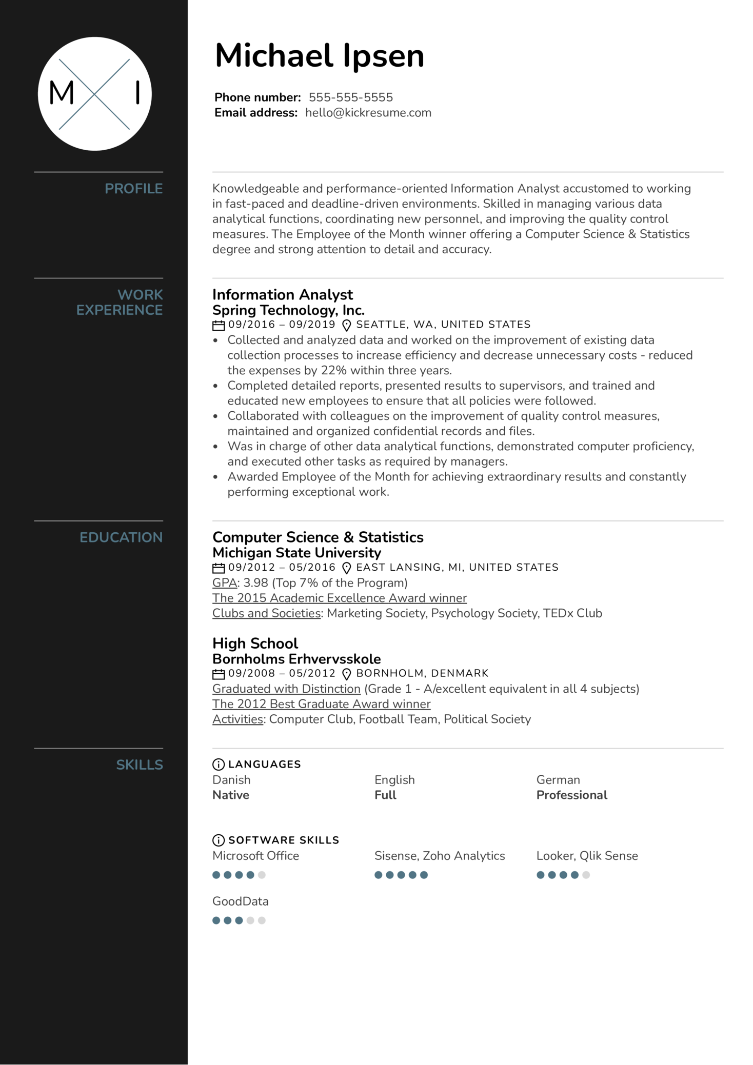 Information Analyst Resume Example (parte 1)