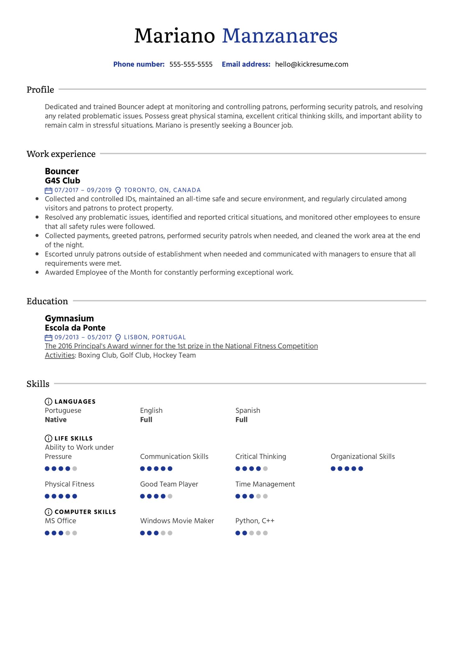 Bouncer Resume Sample (Teil 1)