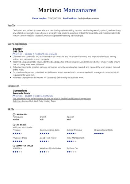 Bouncer Resume Sample