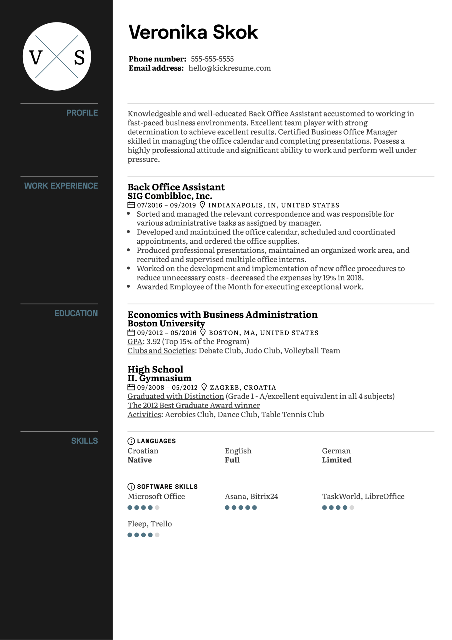 Back Office Assistant Resume Sample (parte 1)