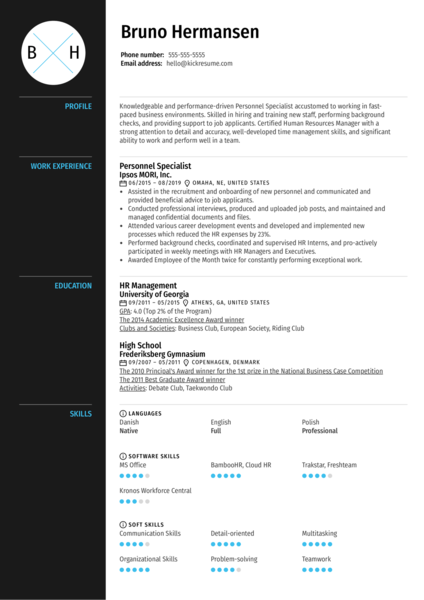 Personnel Specialist Resume Sample