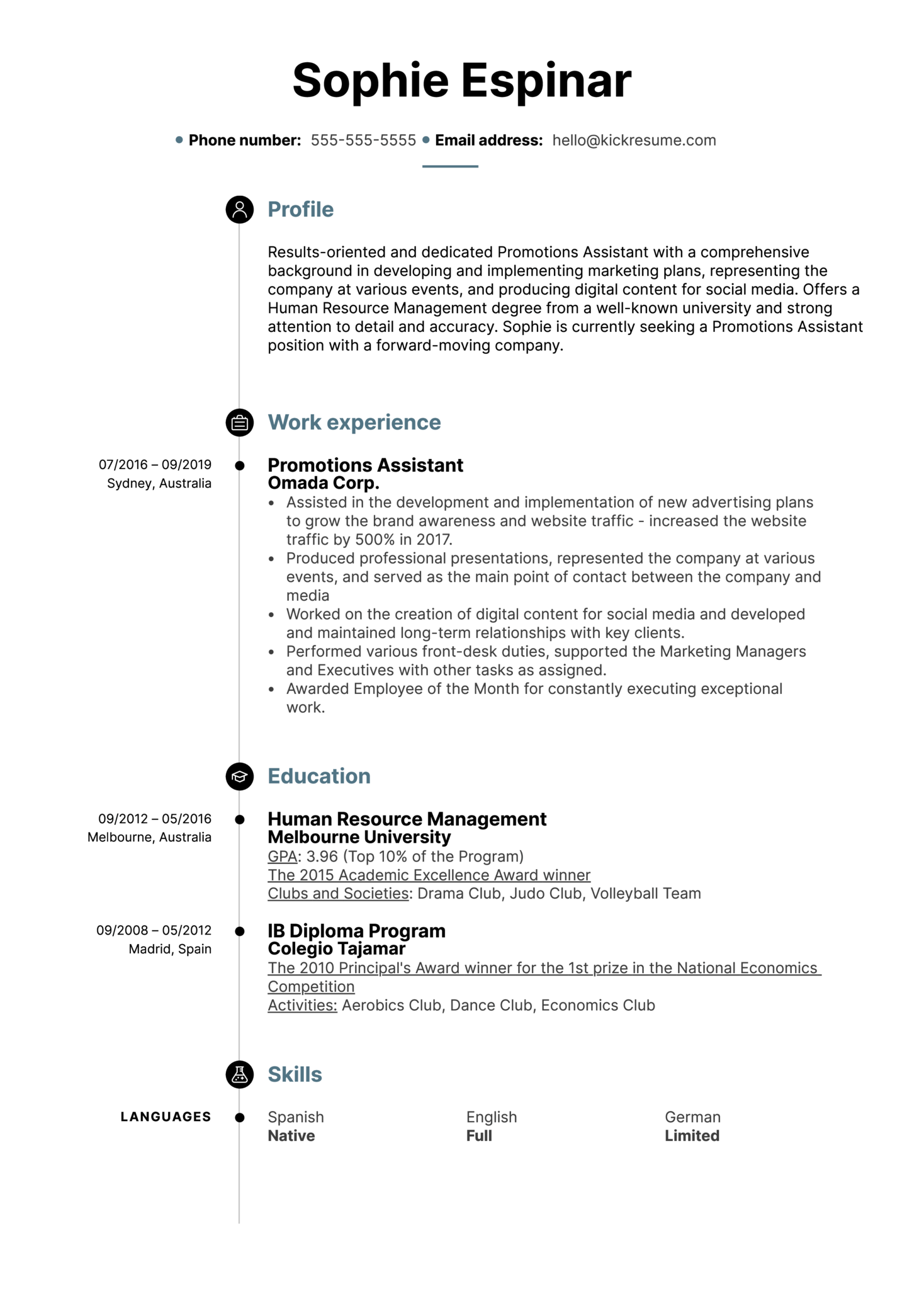 Promotions Assistant Resume Example (Parte 1)
