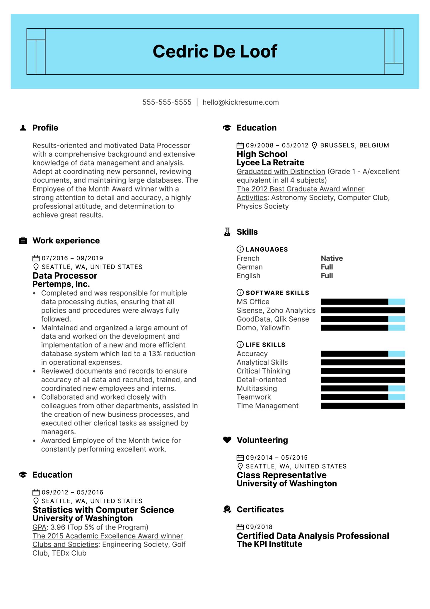 Data Processor Resume Example (Parte 1)