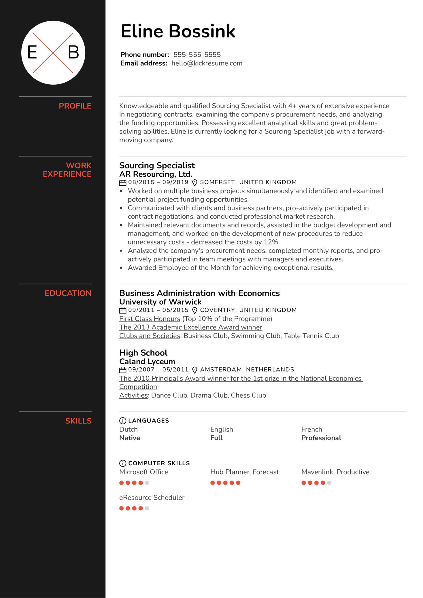 Sourcing Specialist Resume Example (Part 1)