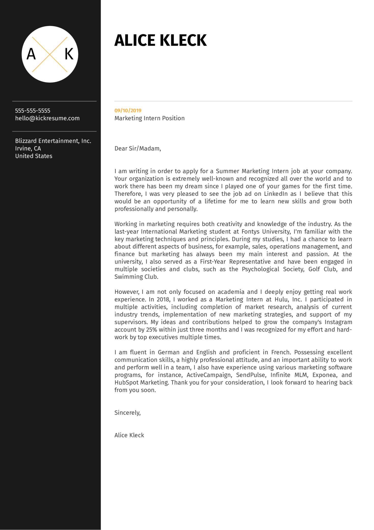 Marketing Intern Cover Letter Example