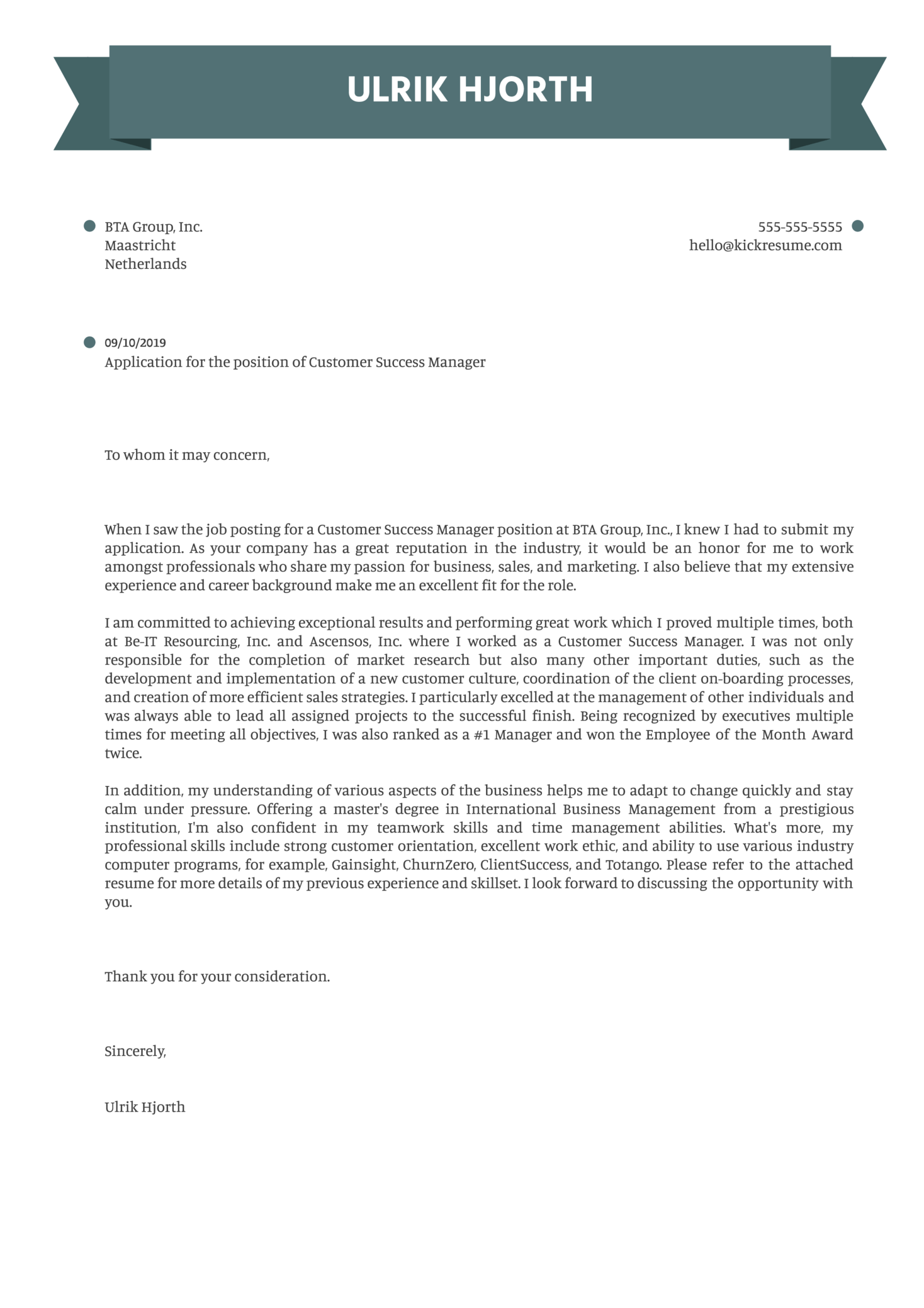 Customer Success Manager Cover Letter Example