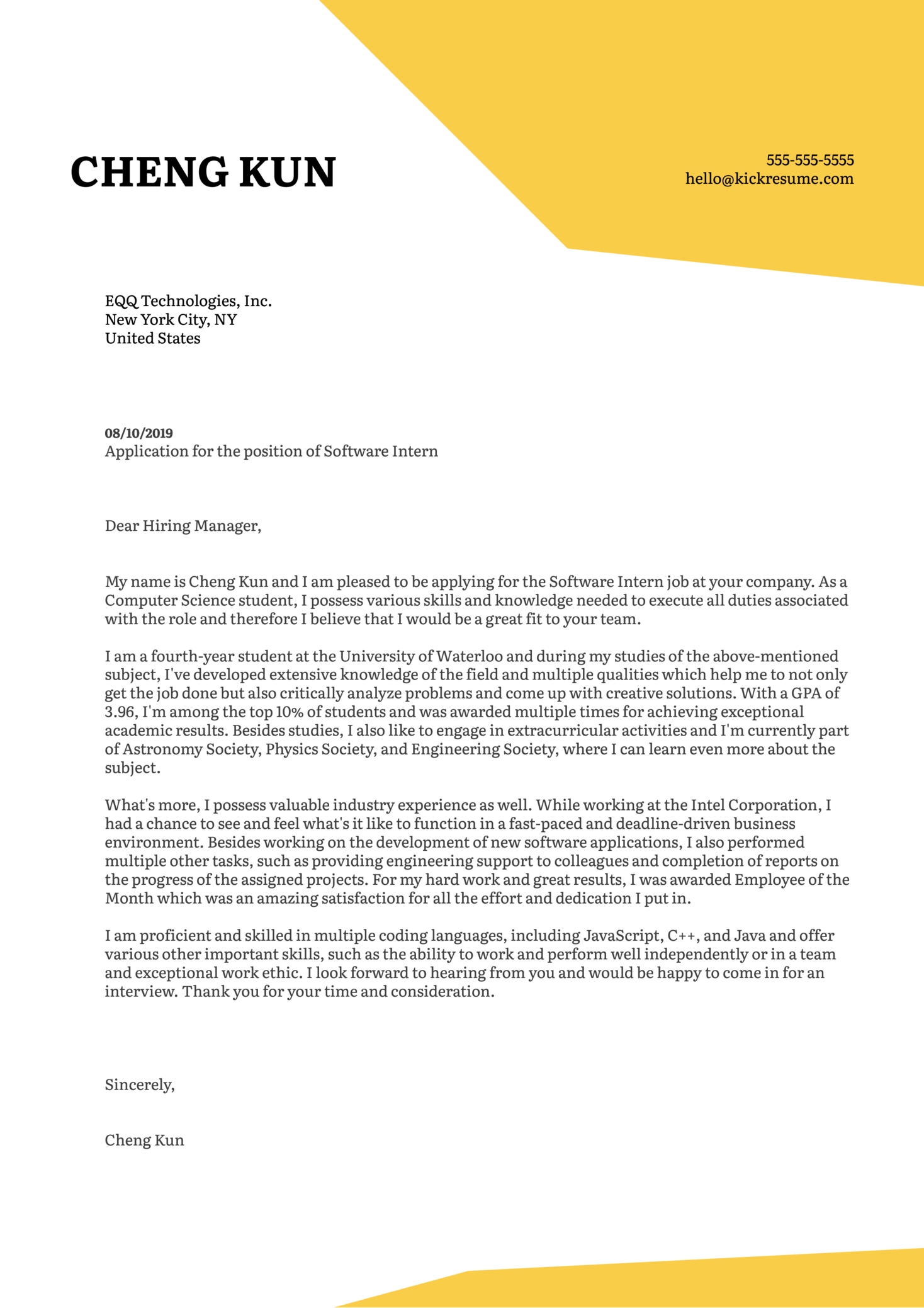 University Student Cover Letter Example