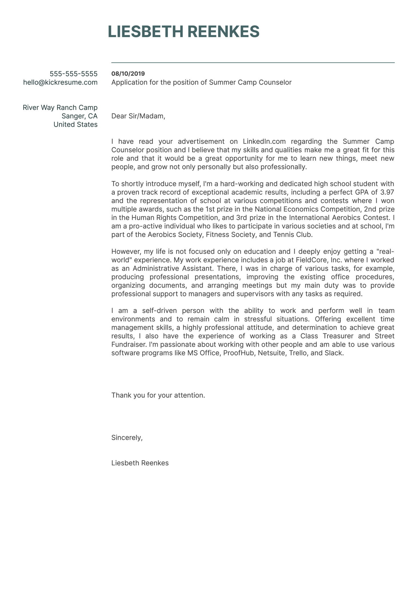 High School Student Cover Letter Example