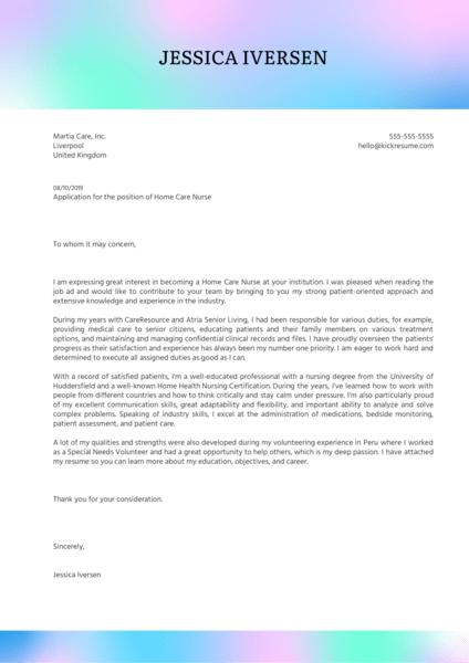 Home Care Nurse Cover Letter Example