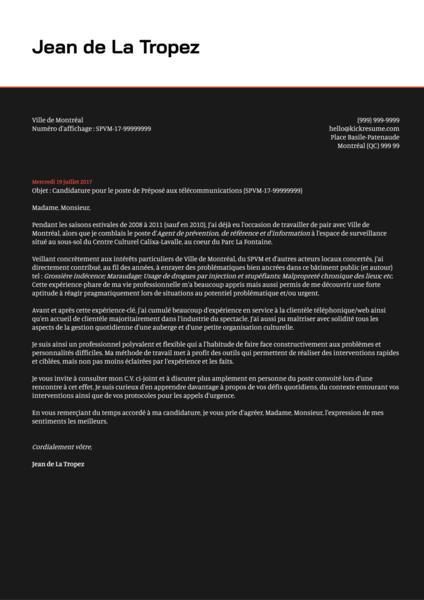 Webmaster/webmestre Cover Letter Example [FR]