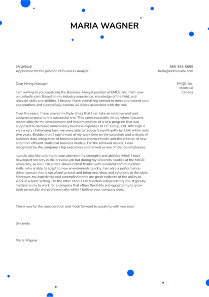 Business Analyst Cover Letter Example