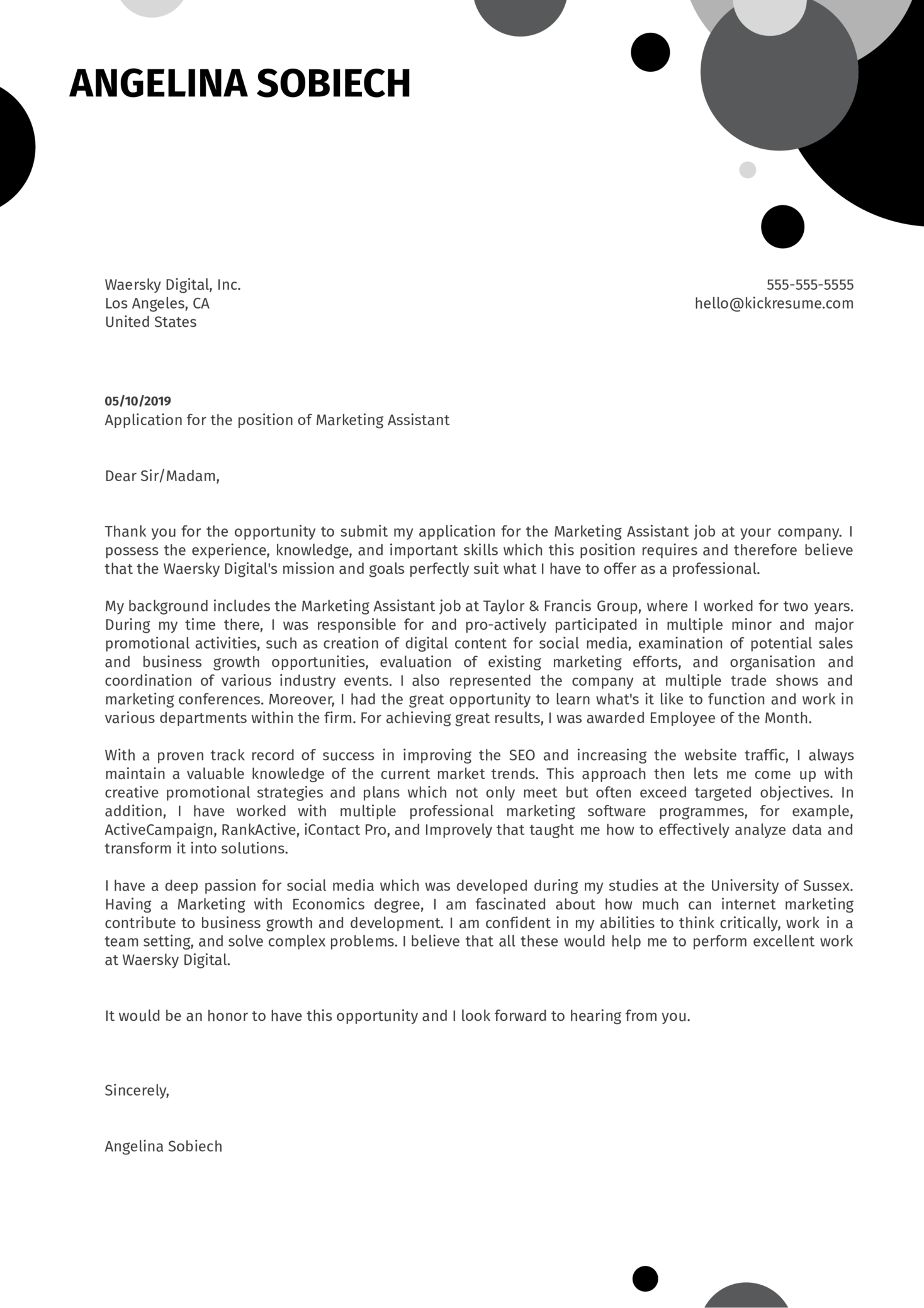 Marketing Assistant Cover Letter Sample