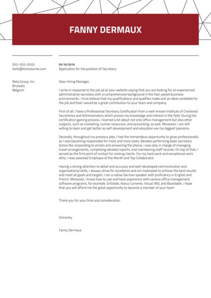 Secretary Cover Letter Sample