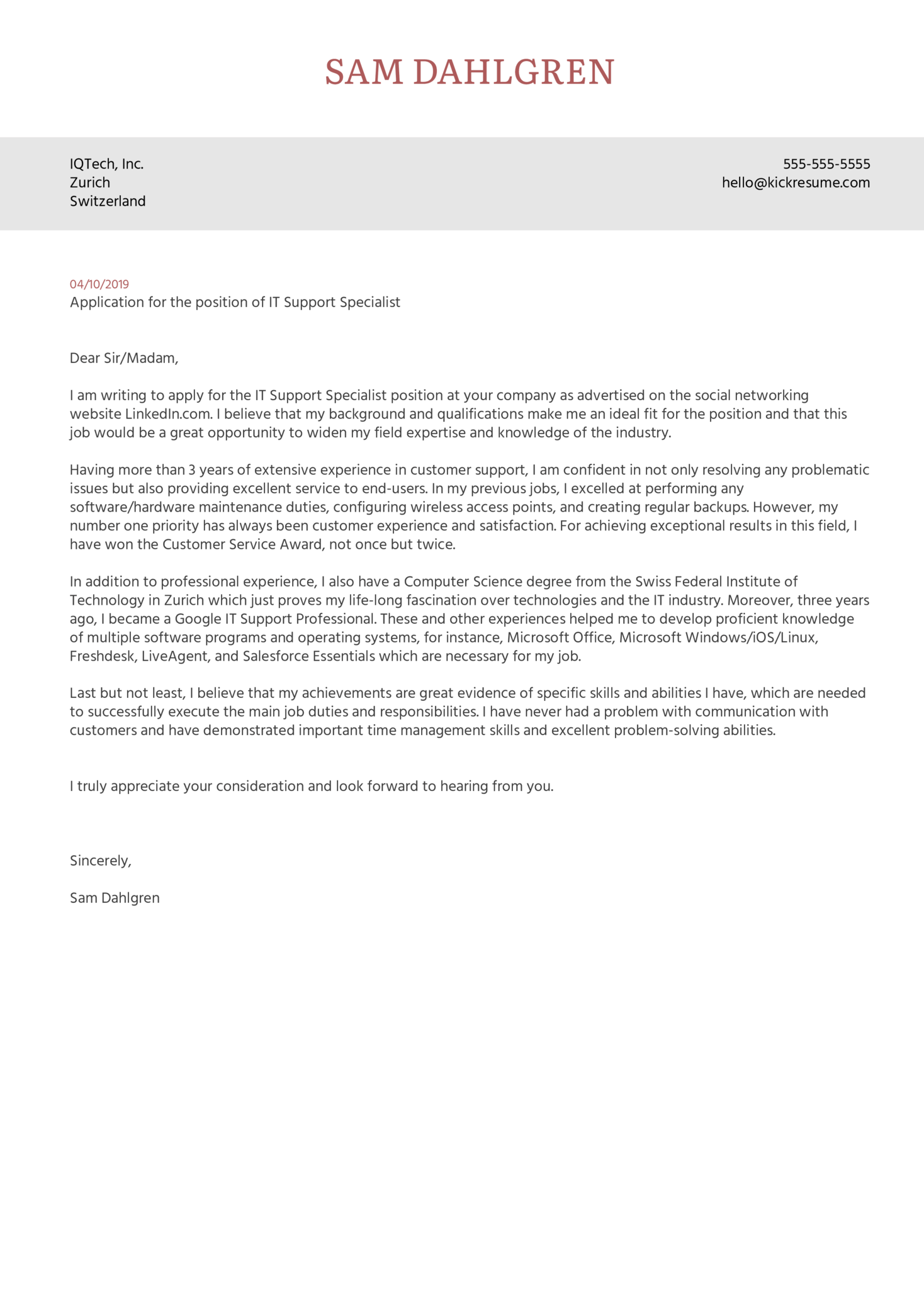 IT Support Specialist Cover Letter Sample