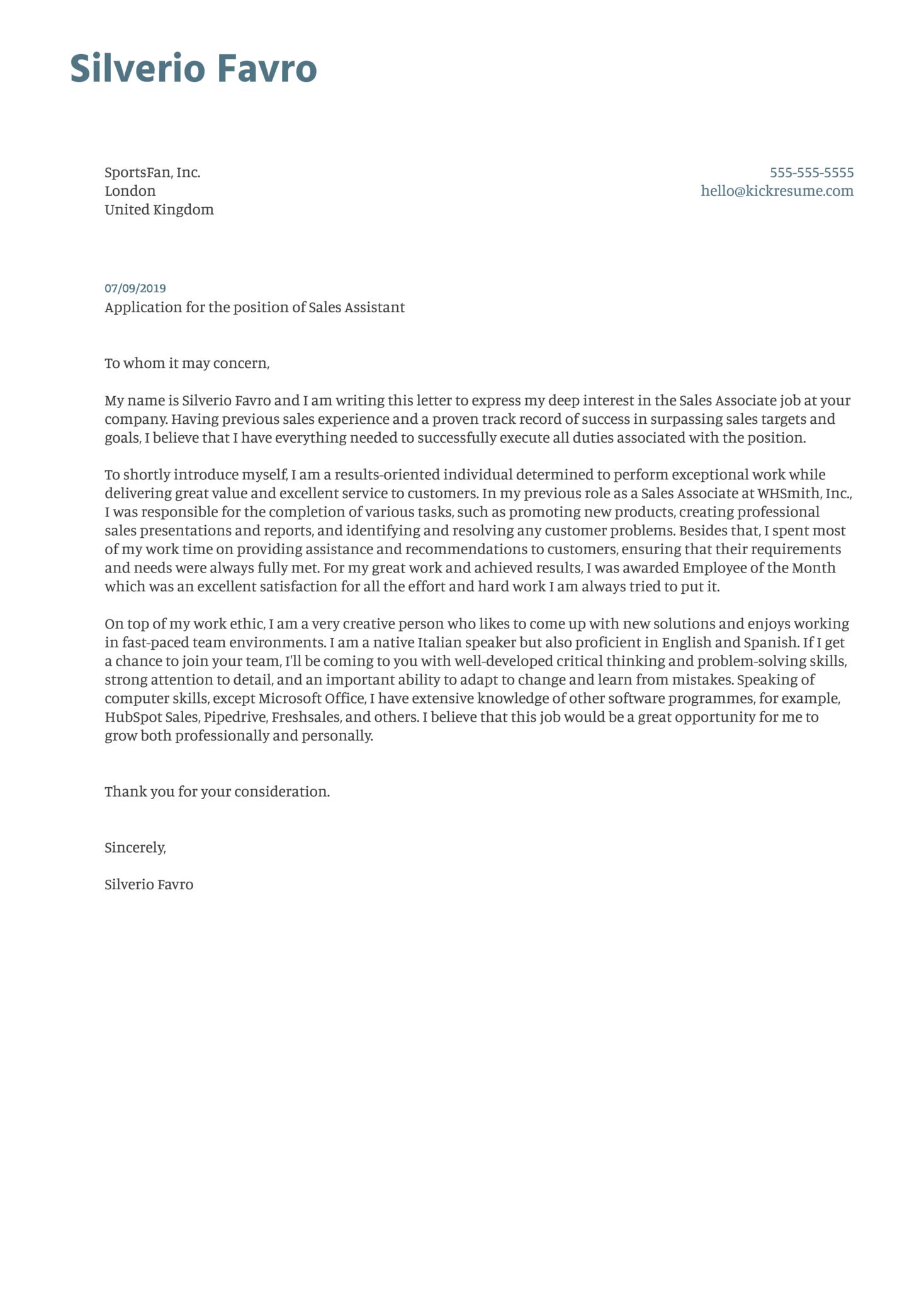 Sales Assistant Cover Letter Sample