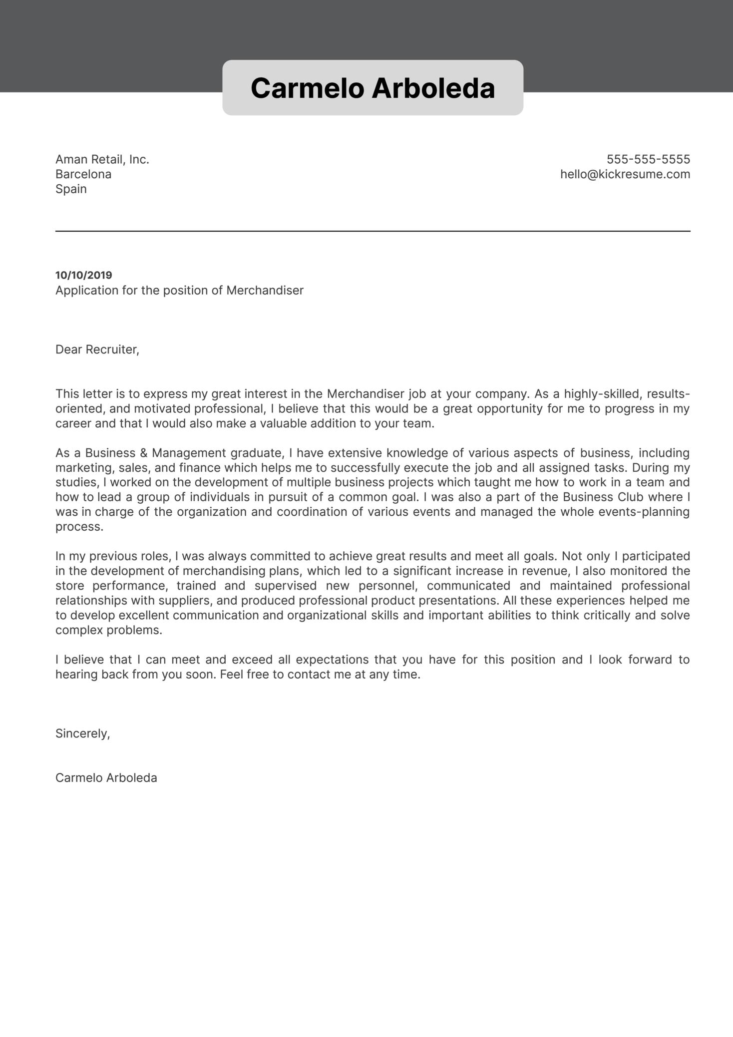 Merchandiser Cover Letter Example