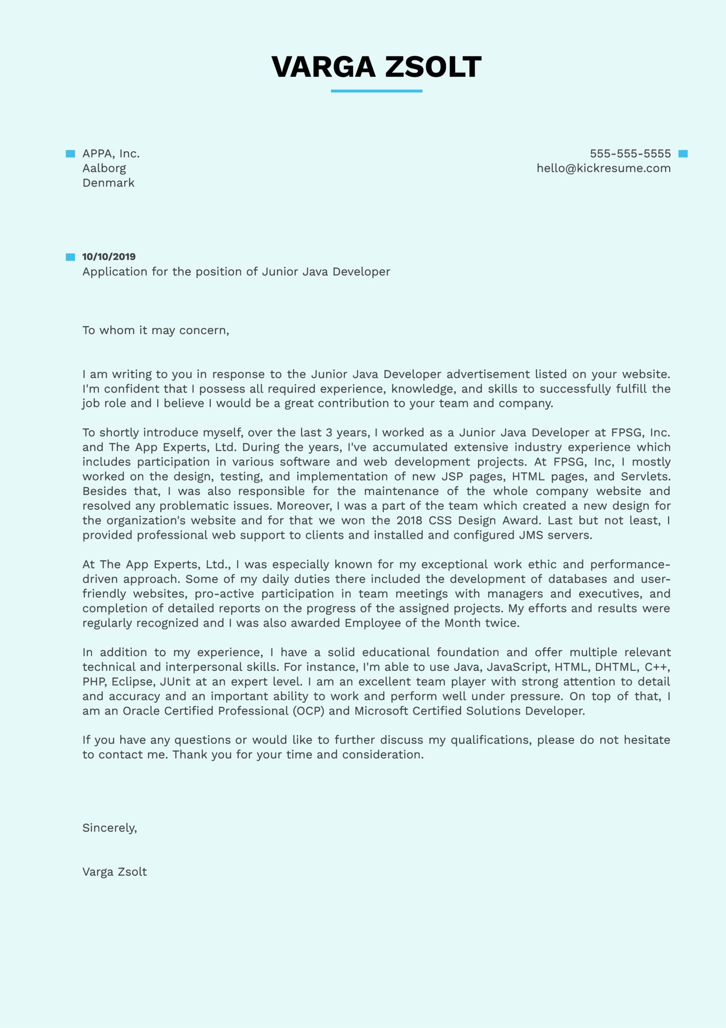 Junior Java Developer Cover Letter Sample