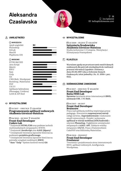 Front-end Developer Resume Example [PL]