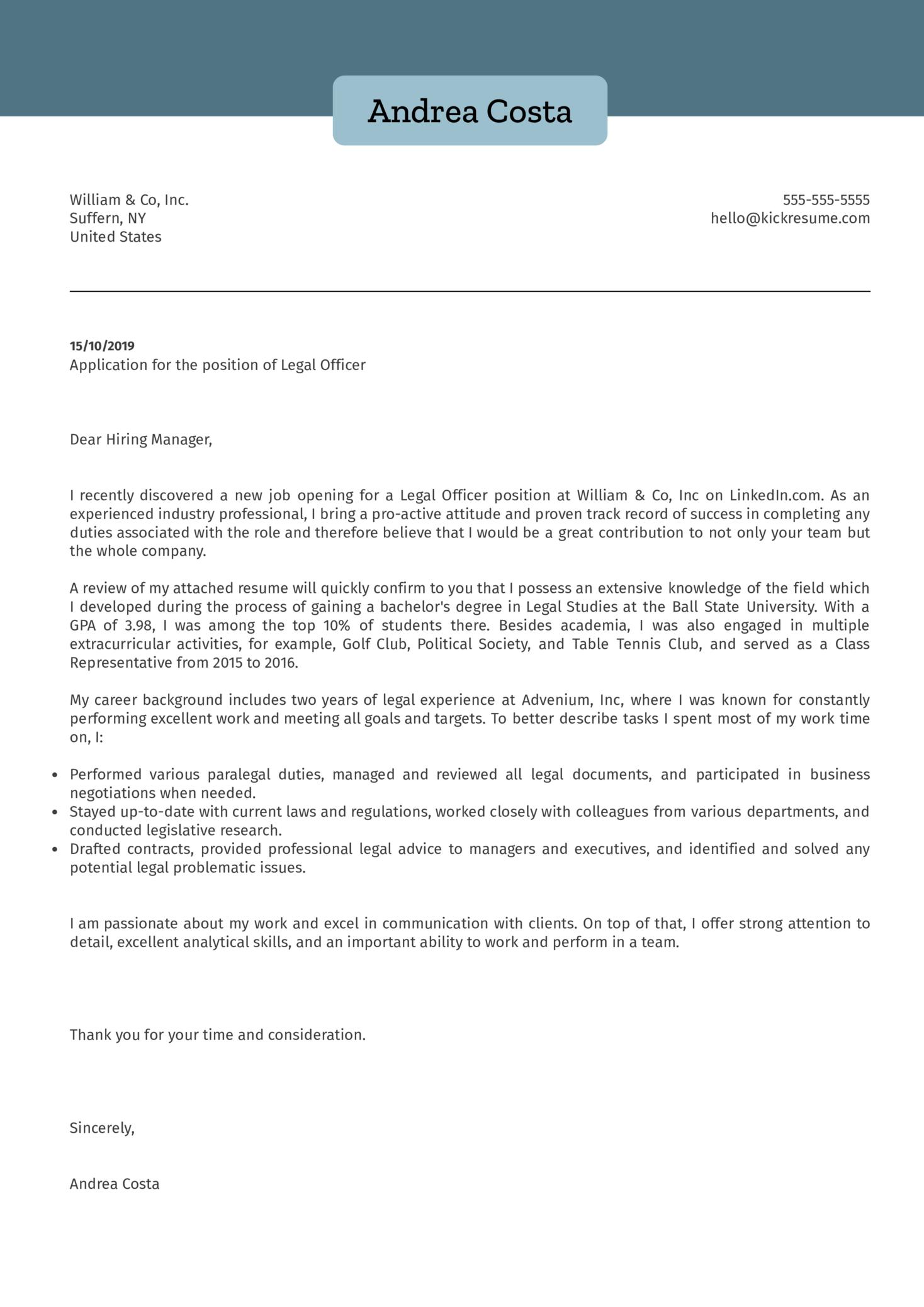 Legal Officer Cover Letter Sample