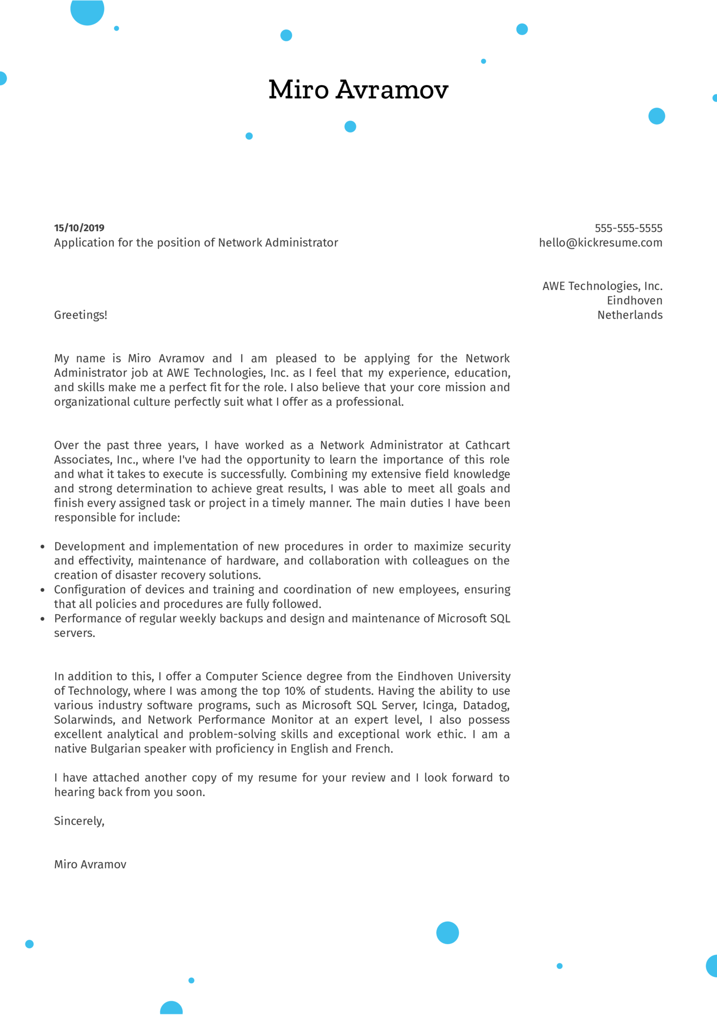 Network Administrator Cover Letter Sample