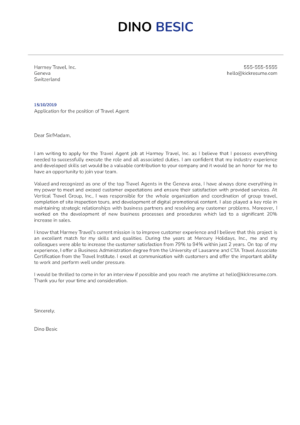 Travel Agent Cover Letter Template