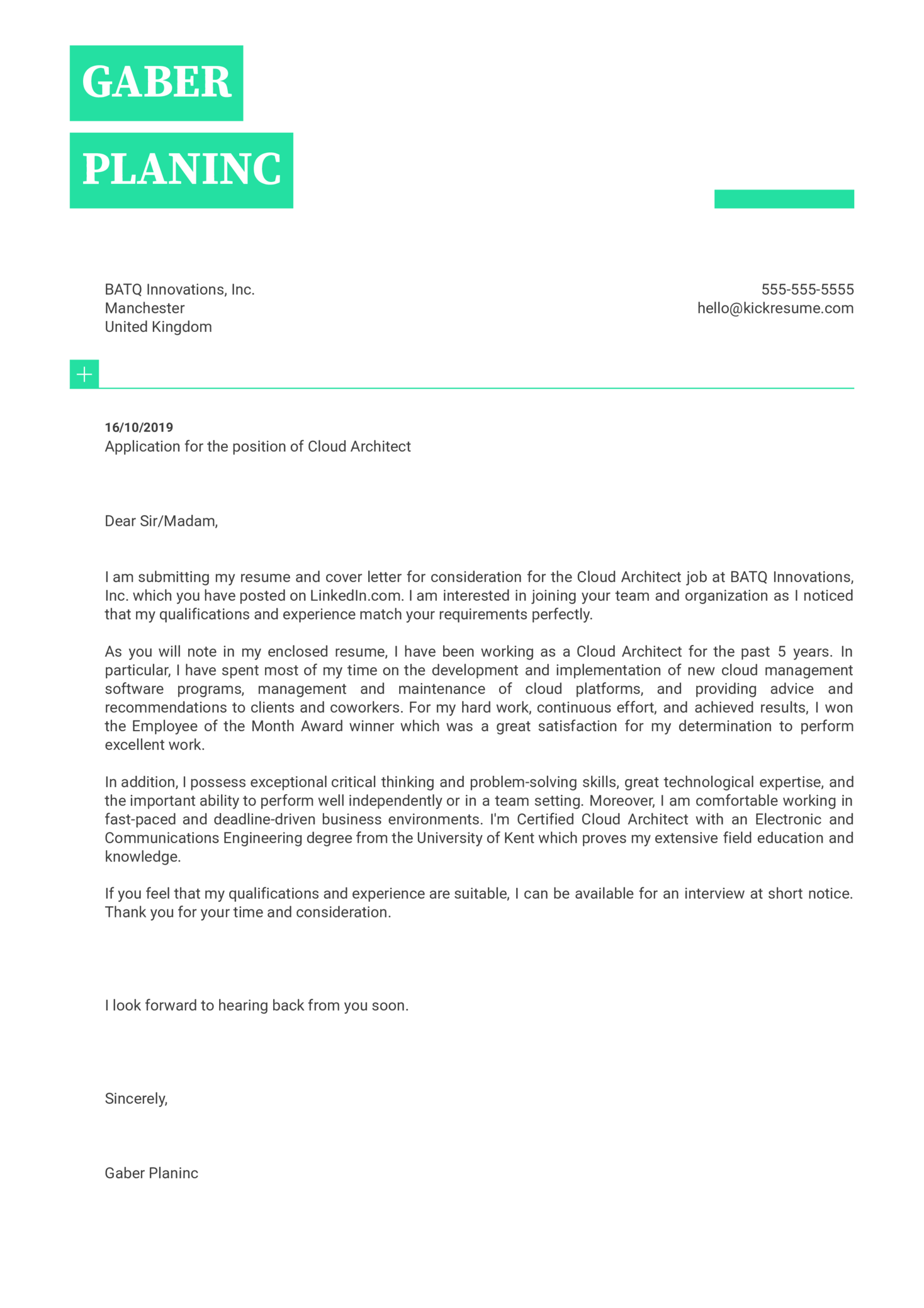Cloud Architect Cover Letter Template
