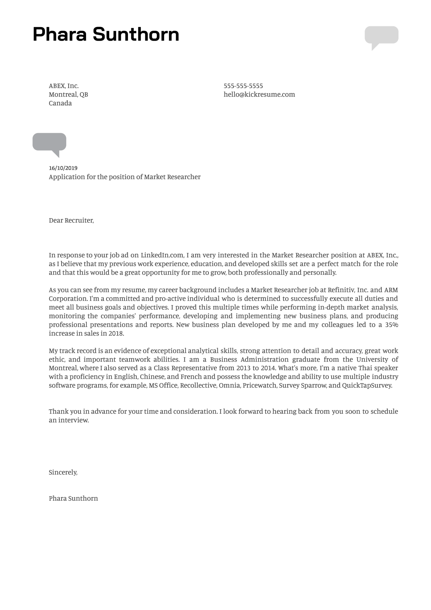 Market Researcher Cover Letter Example