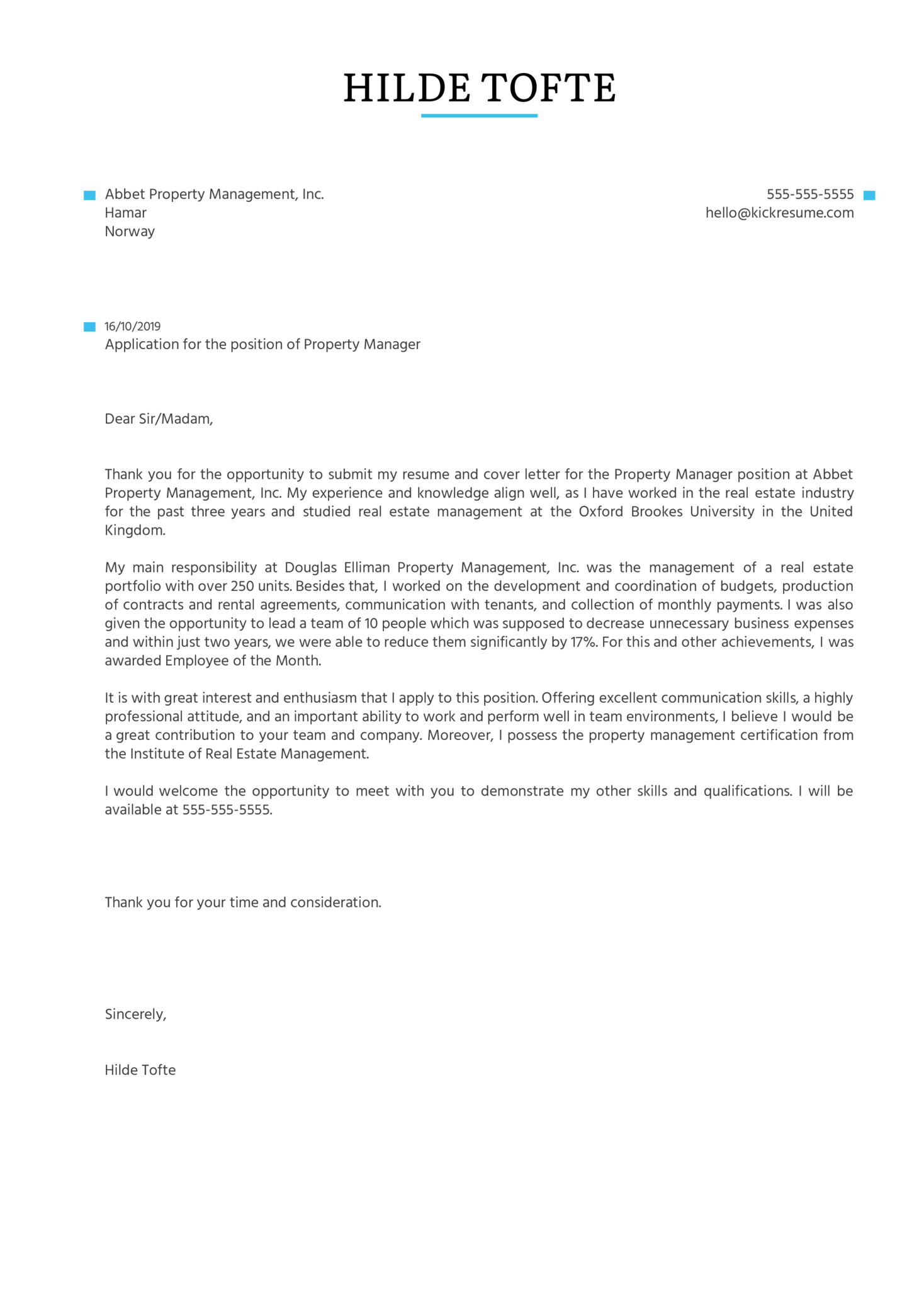 Property Manager Cover Letter Example