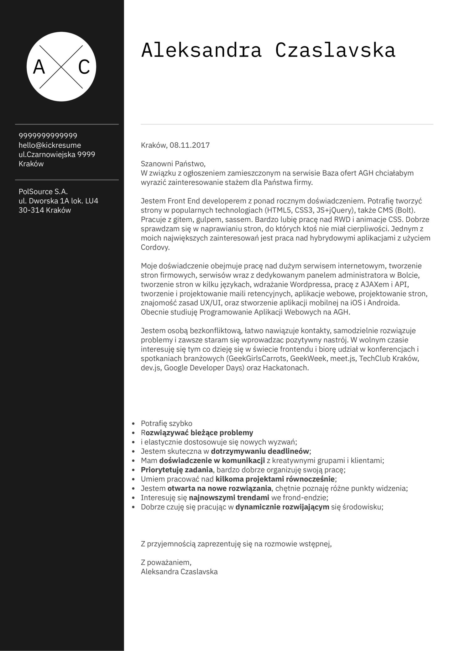 Front-end Developer Cover Letter Sample [PL]