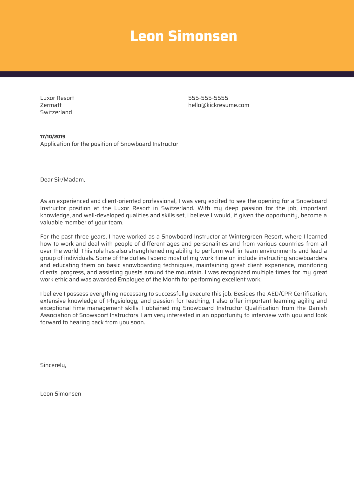 Snowboard Instructor Cover Letter Template