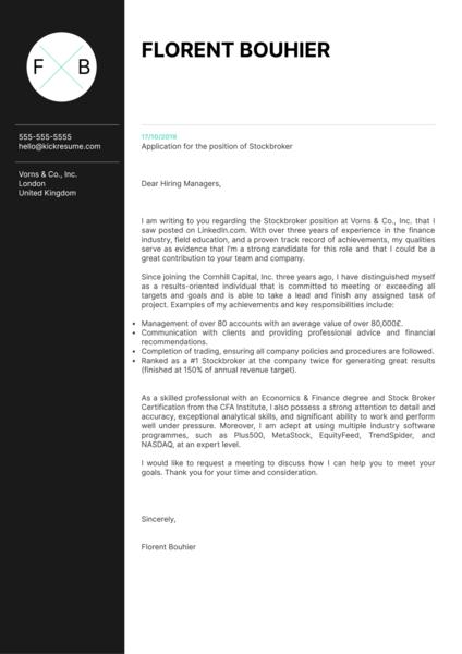 Stockbroker Cover Letter Example