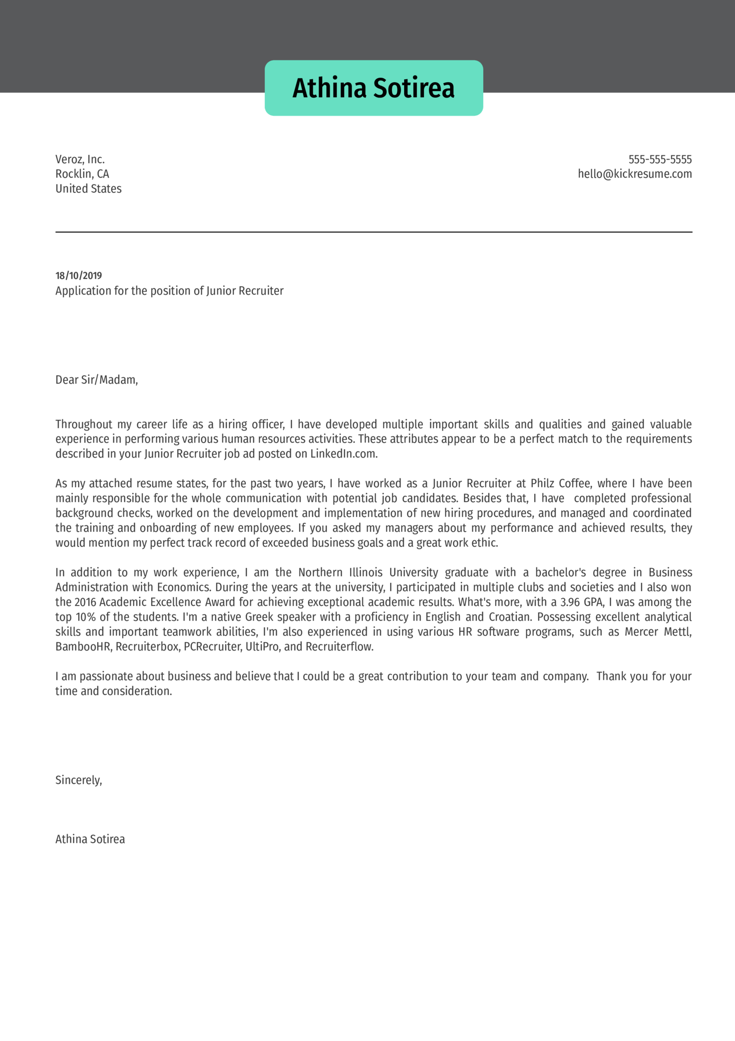 Junior Recruiter Cover Letter Sample