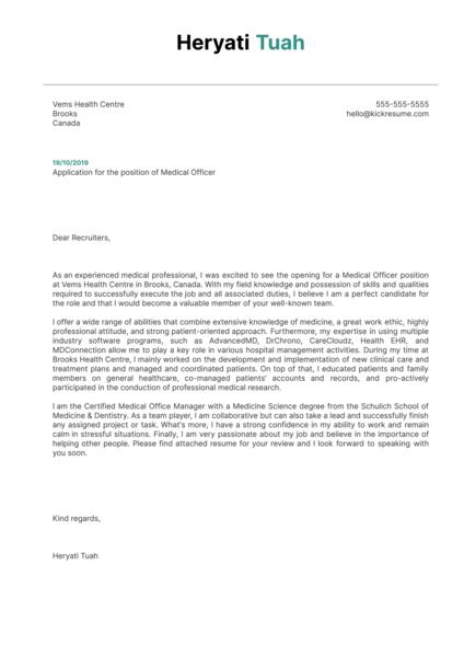 Medical Officer Cover Letter Sample