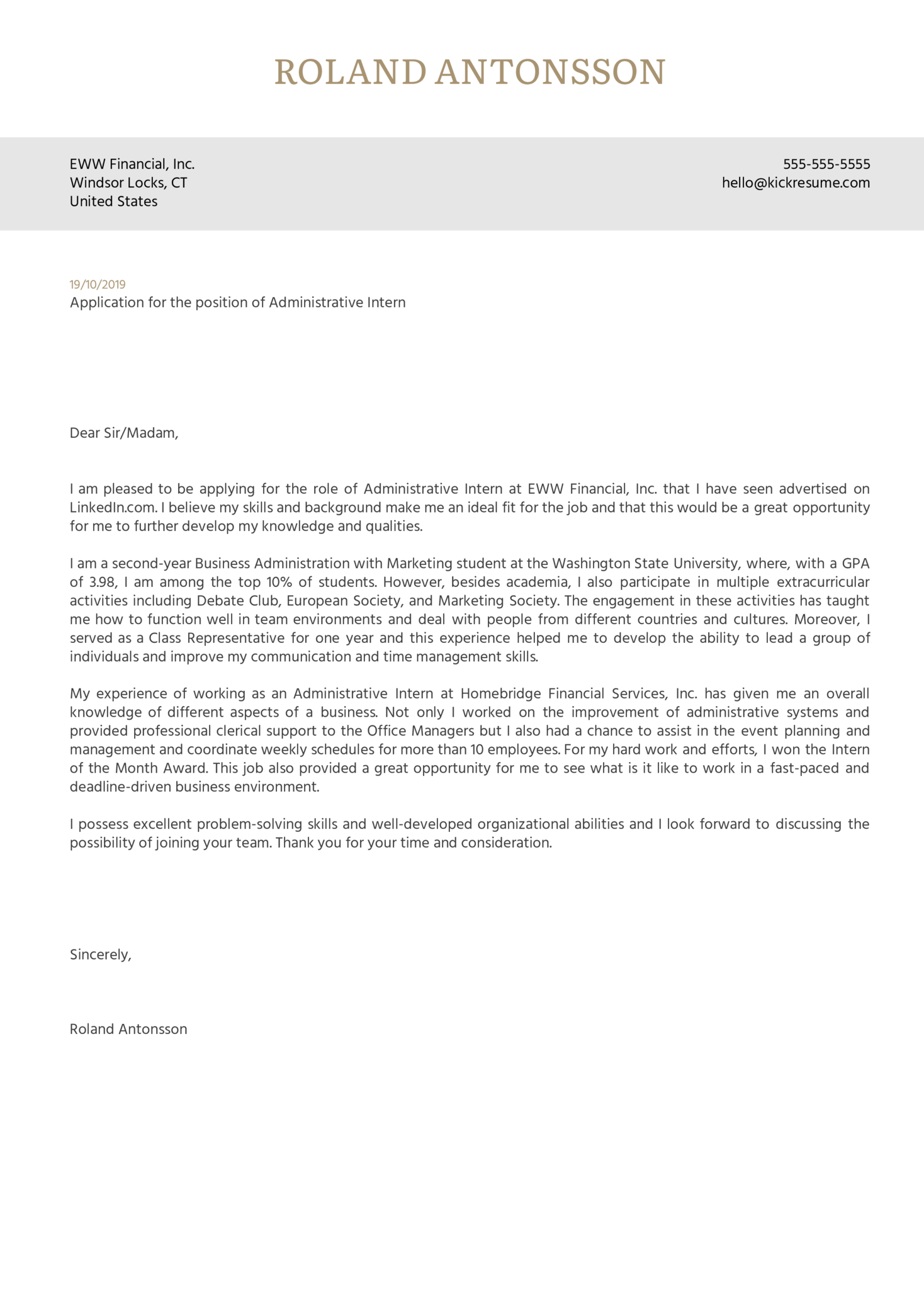 Administrative Intern Cover Letter Example