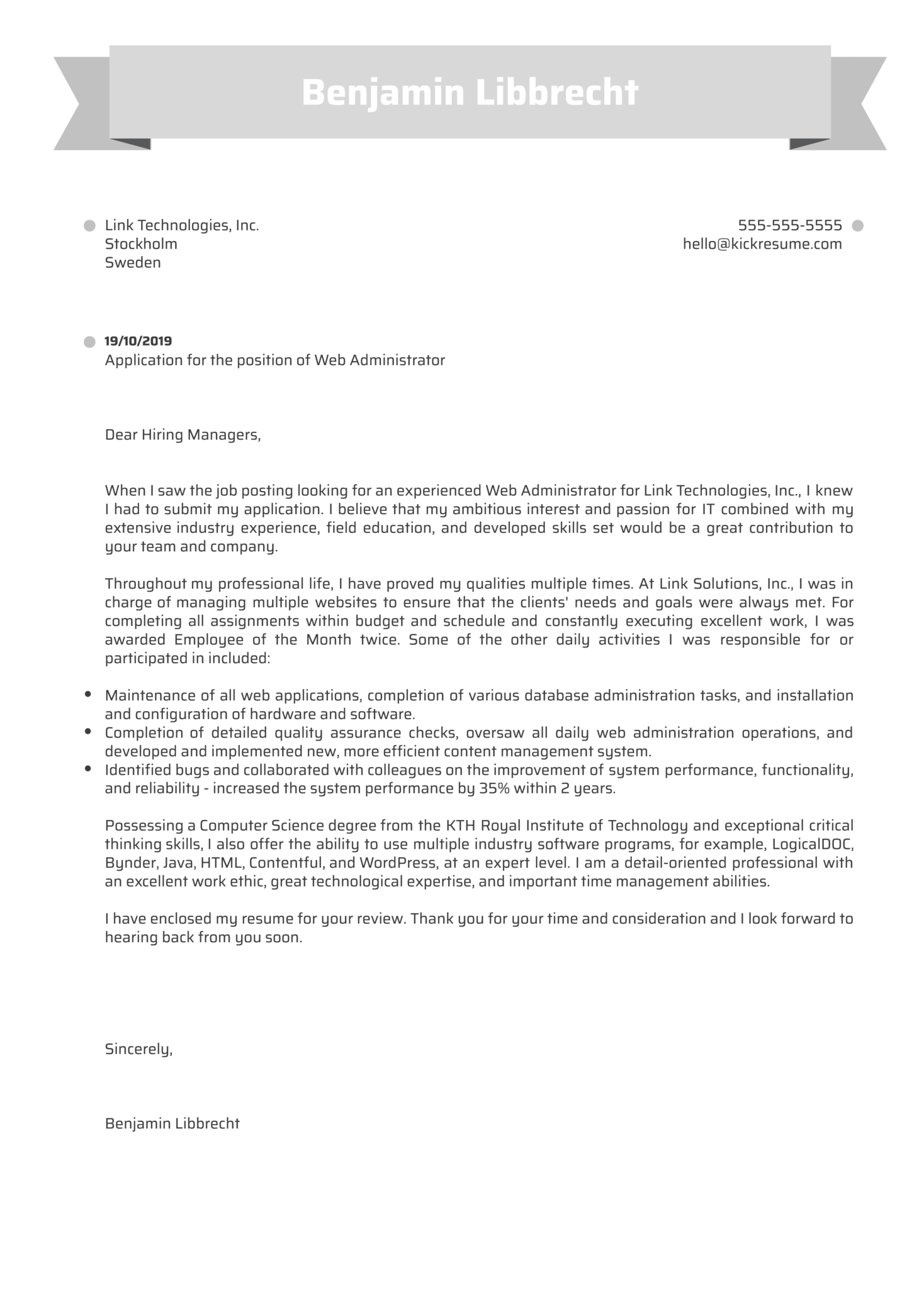 Web Administrator Cover Letter Example