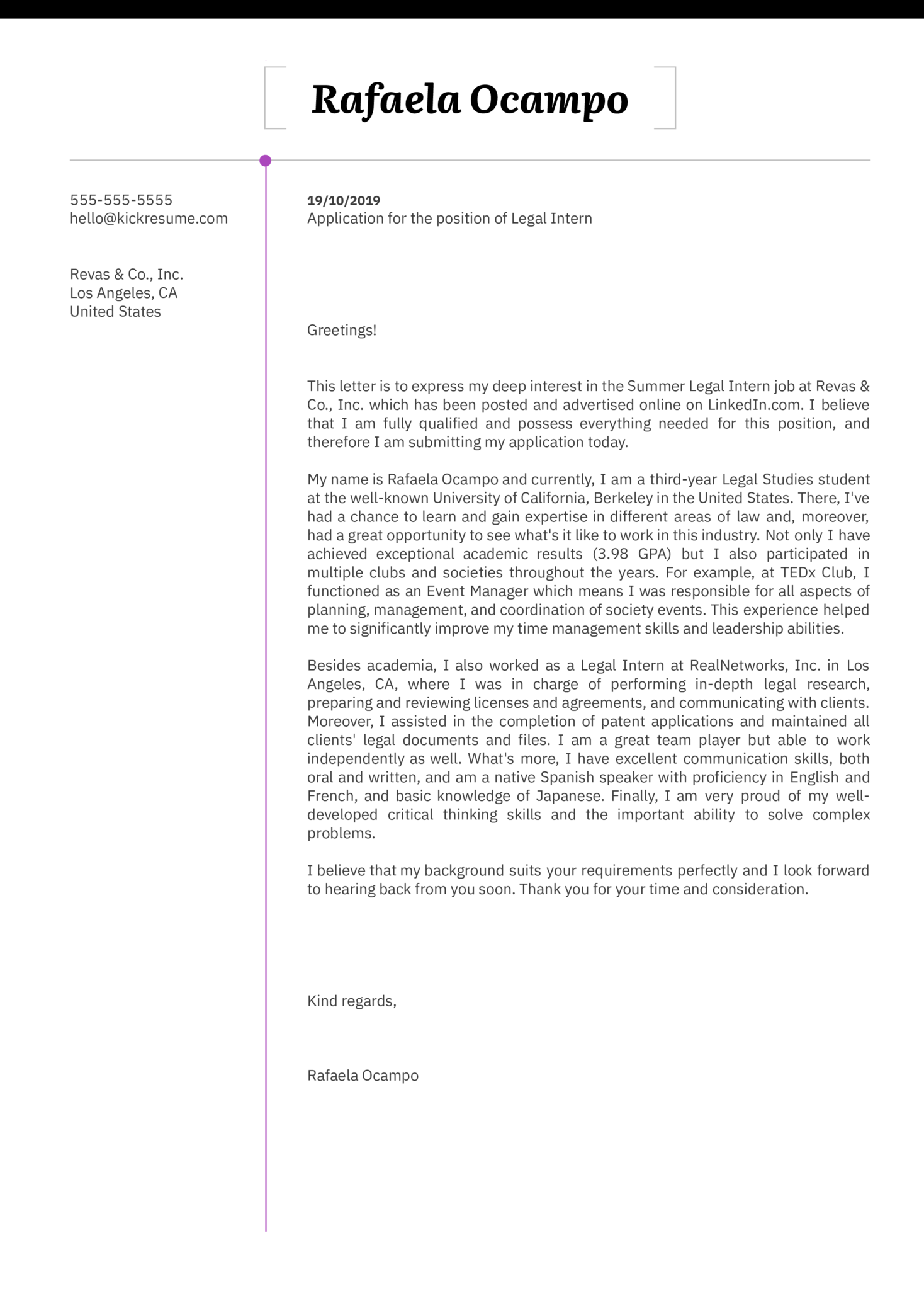 Legal Intern Cover Letter Example