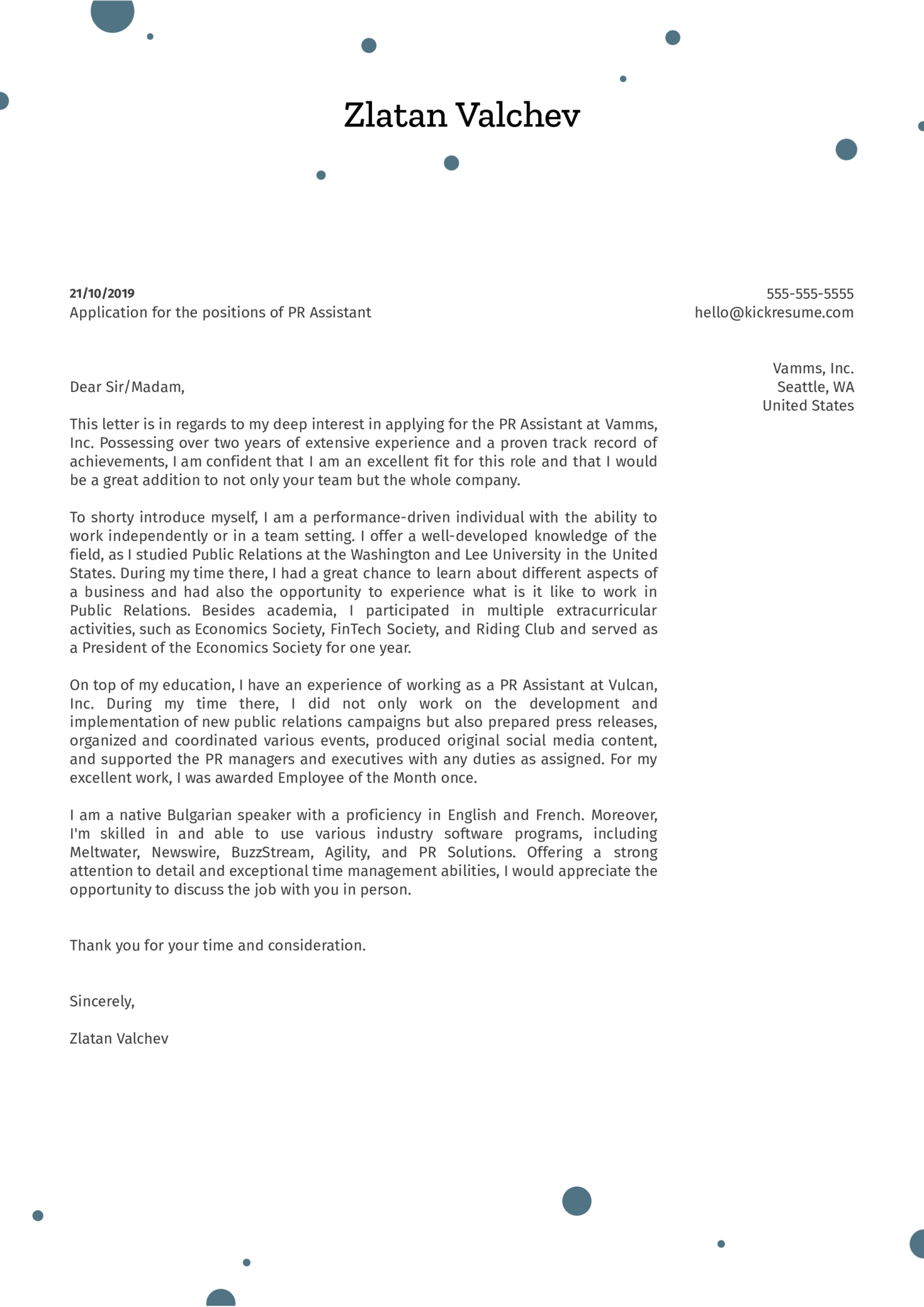 PR Assistant Cover Letter Example