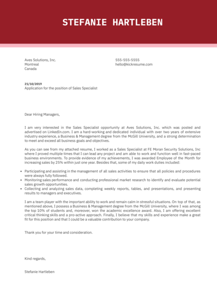 Sales Specialist Cover Letter Sample