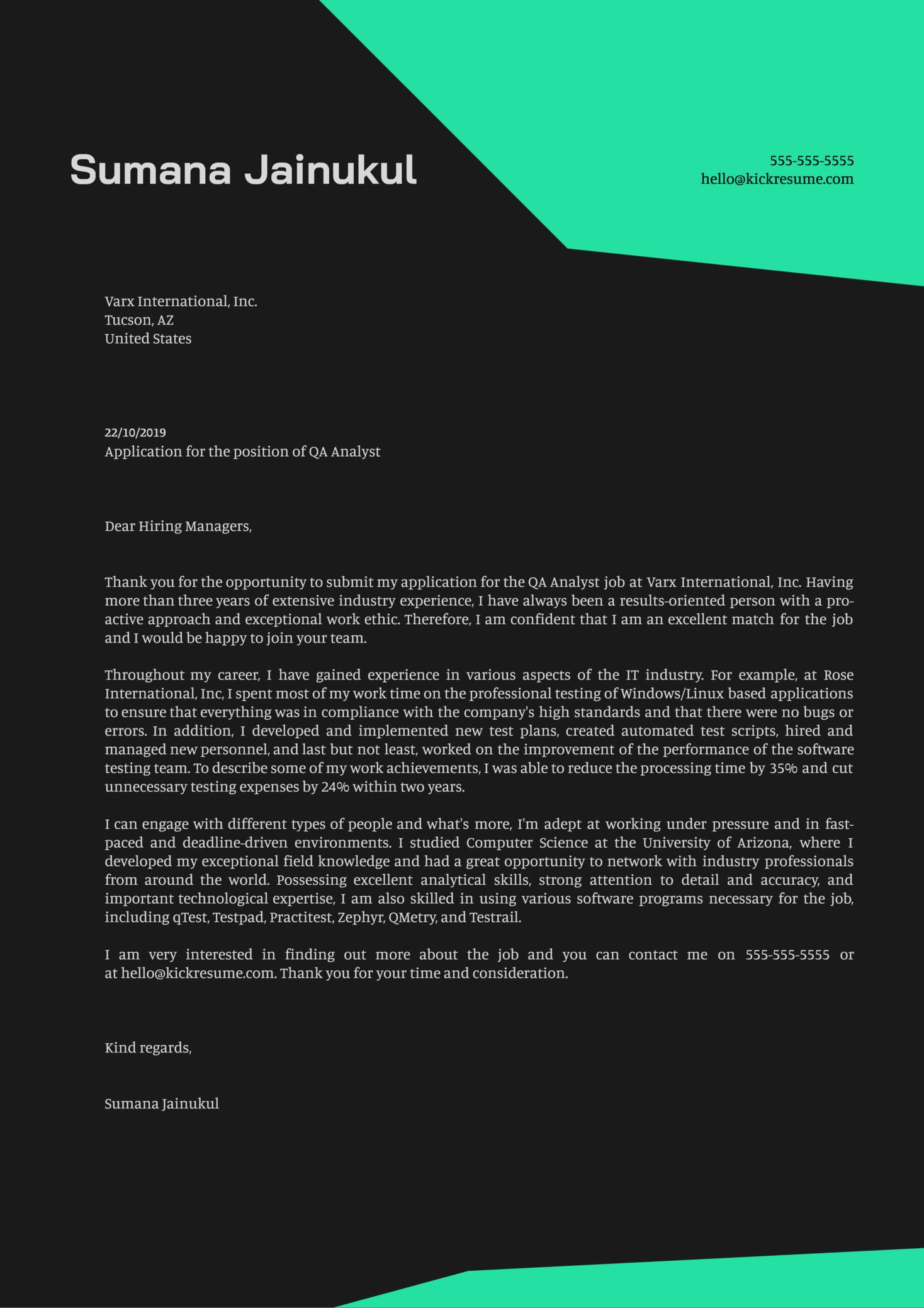 QA Analyst Cover Letter Sample