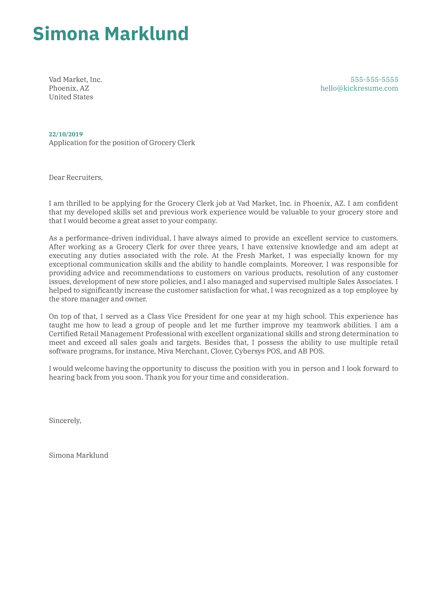 Grocery Clerk Cover Letter Sample