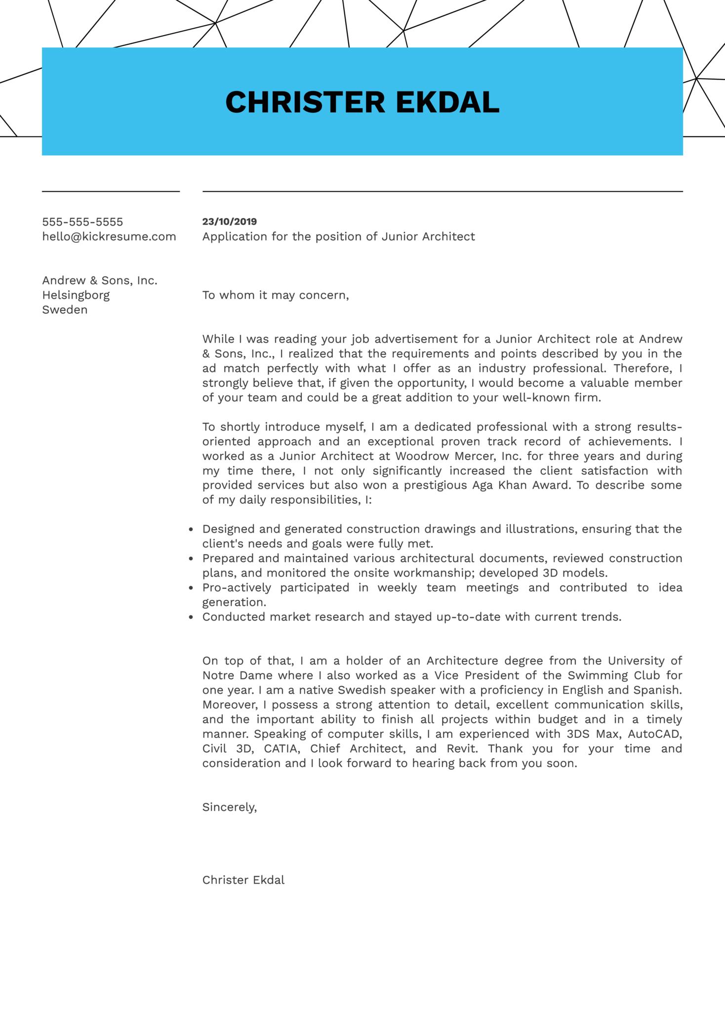 Junior Architect Cover Letter Sample