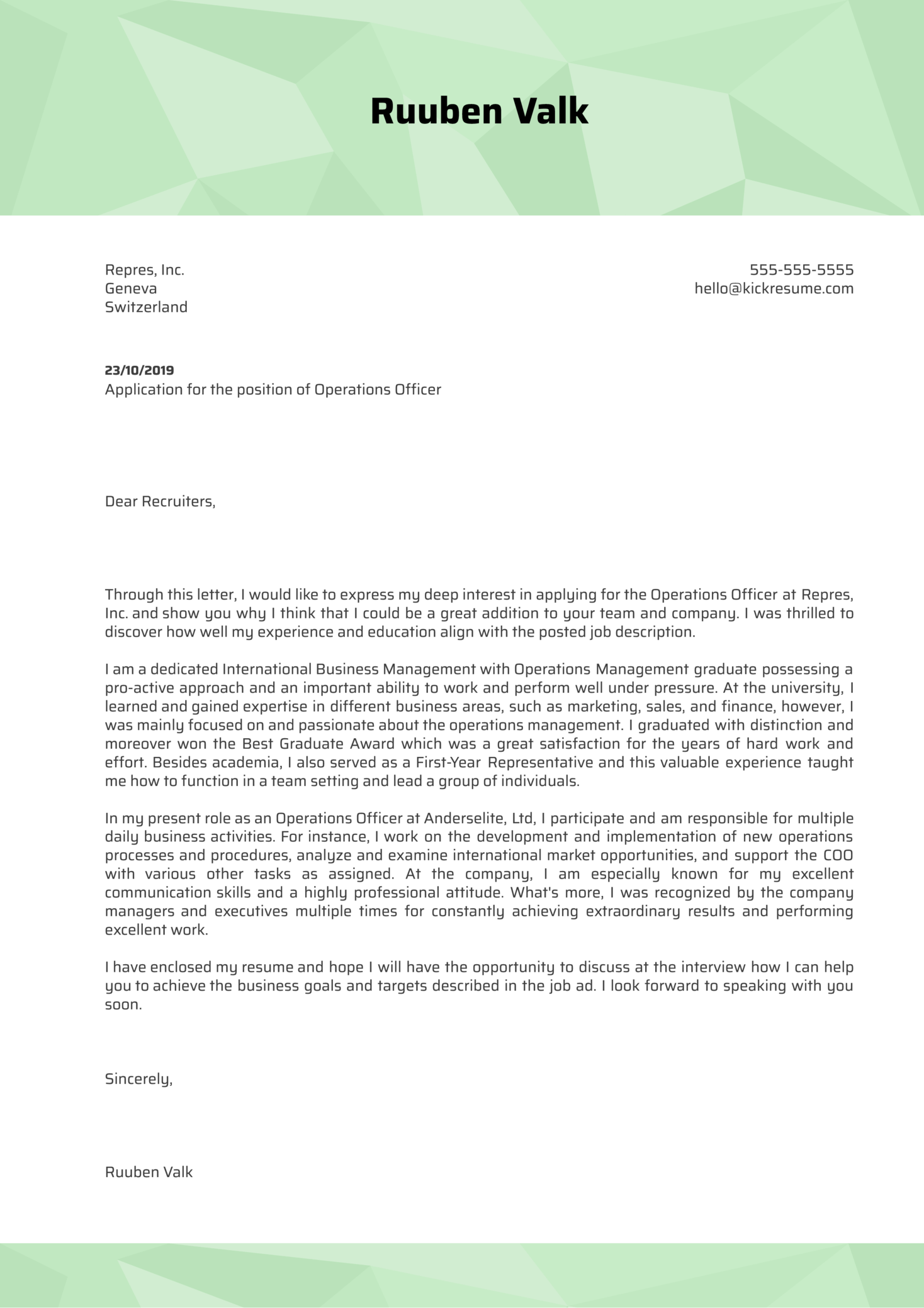 Operations Officer Cover Letter Example