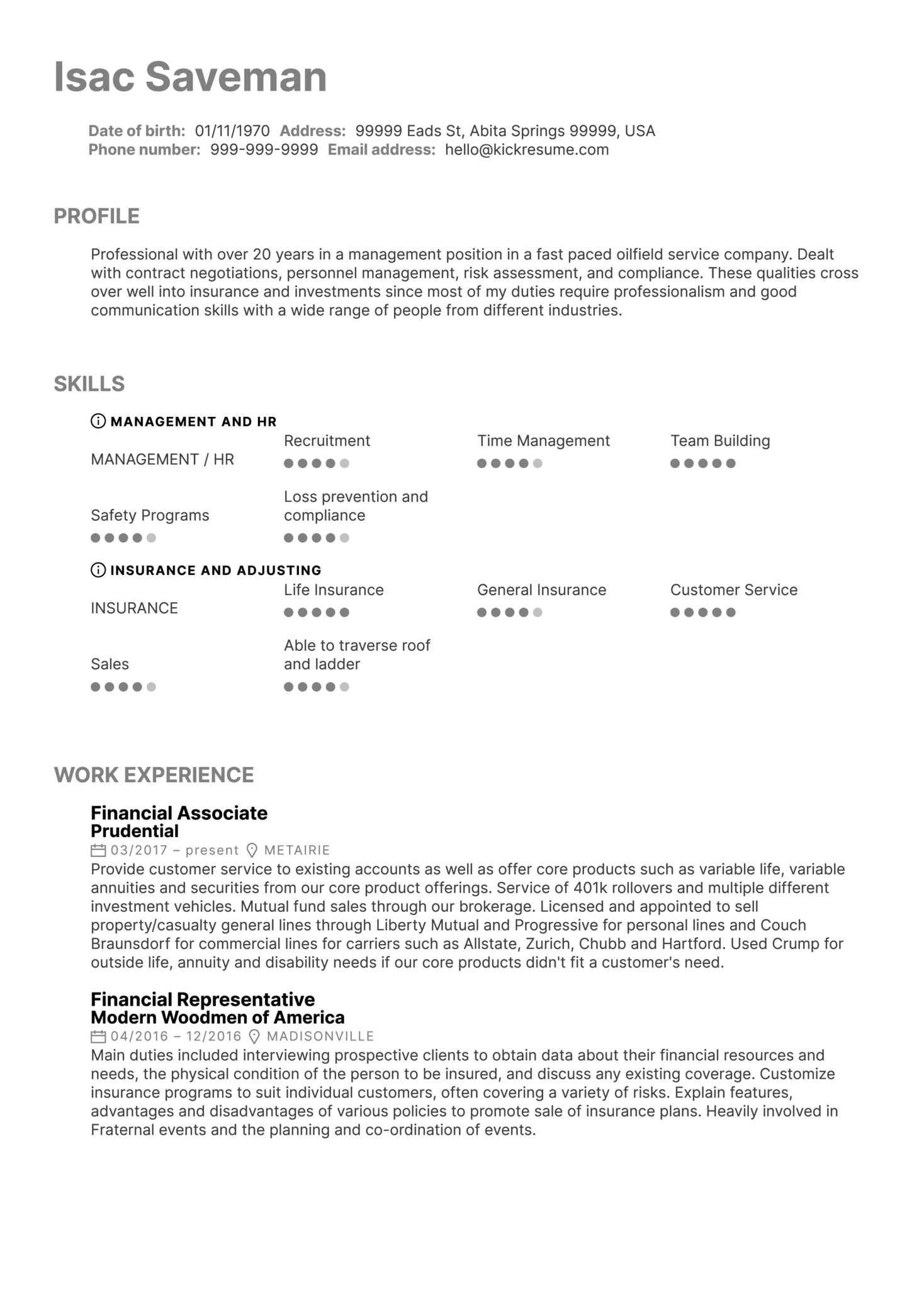 Financial Services Associate at Prudential Resume Sample (parte 1)