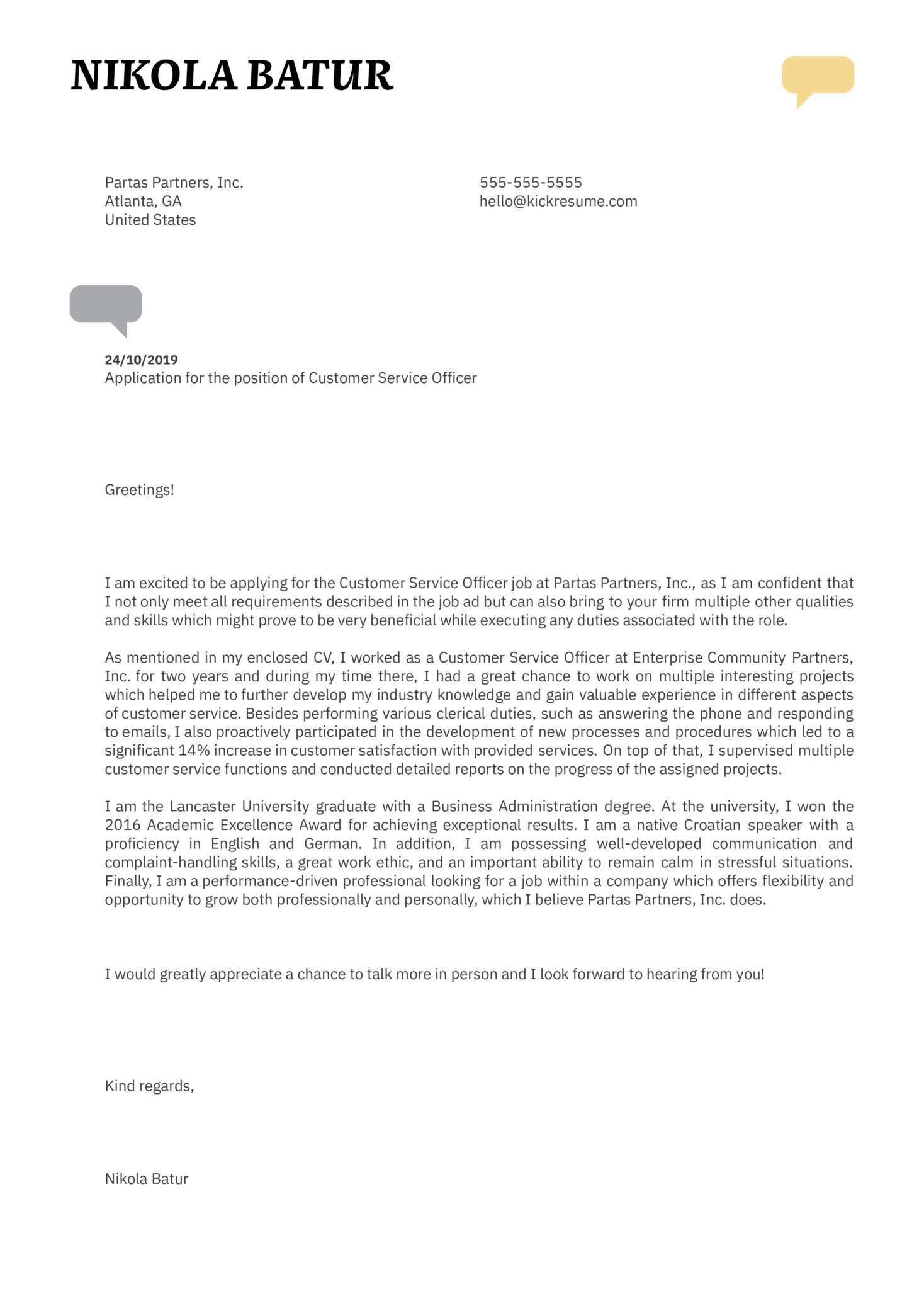 Customer Service Officer Cover Letter Template