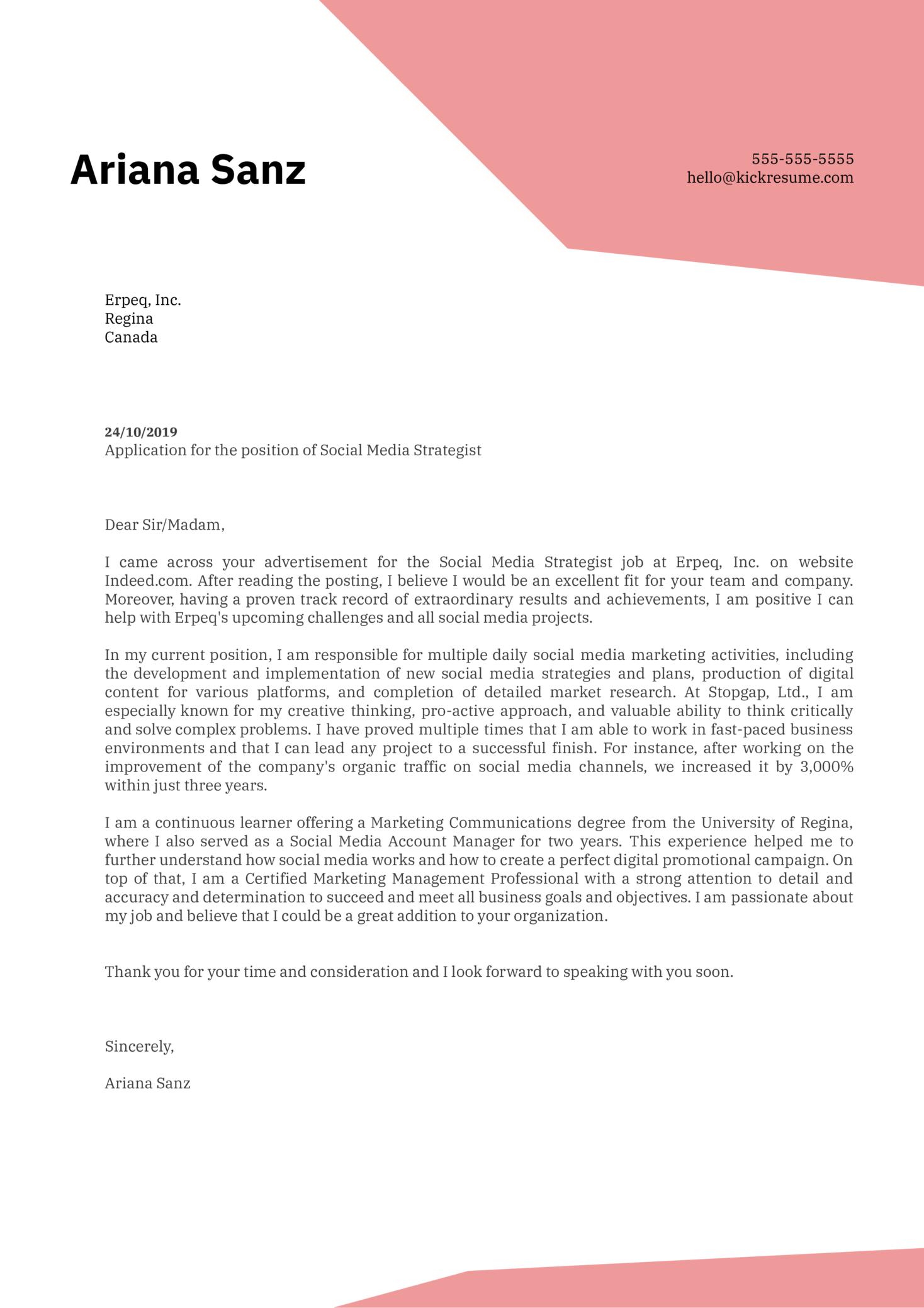 Social Media Strategist Cover Letter Example