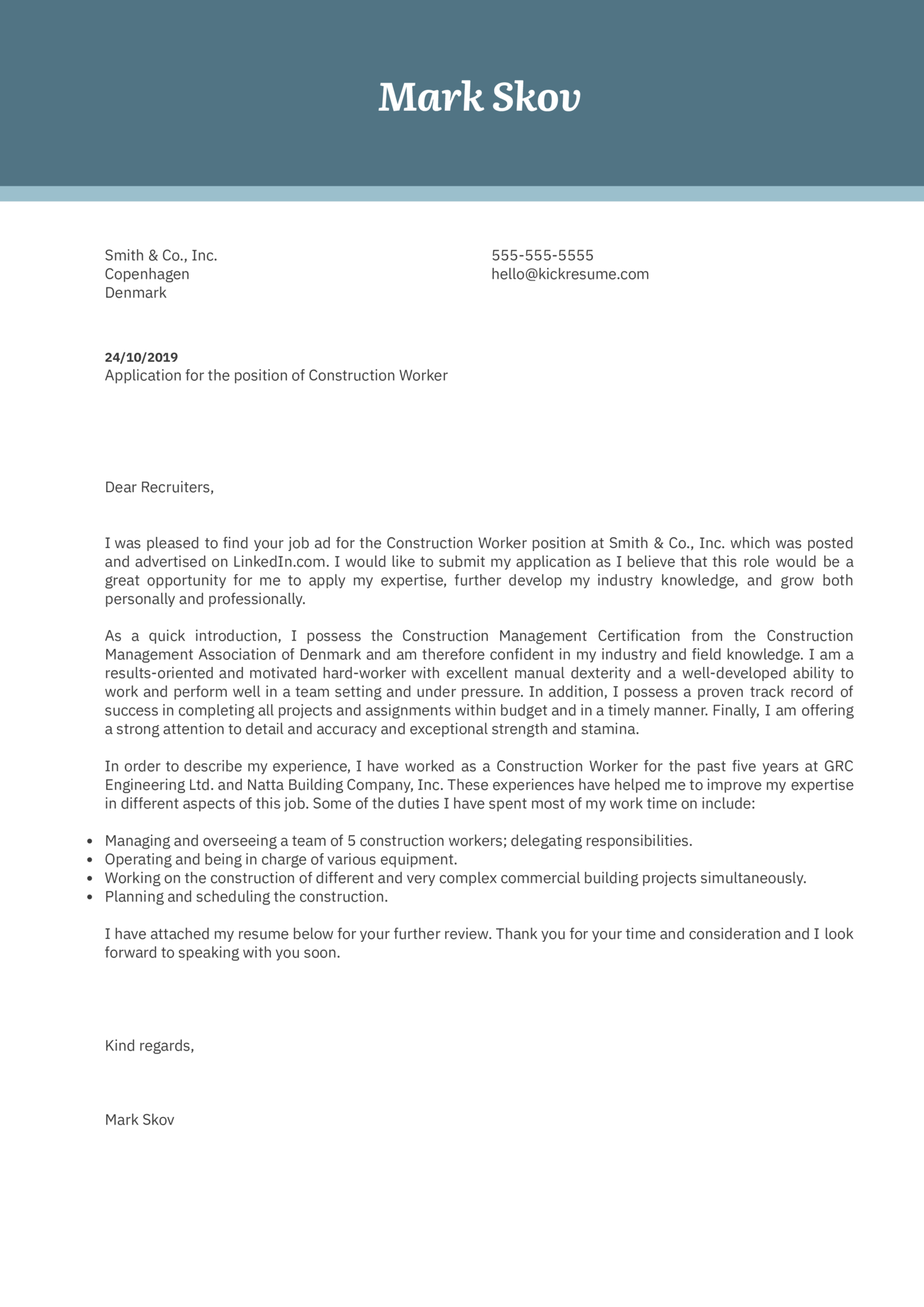 Construction Worker Cover Letter Example