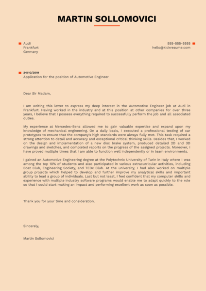 Automotive Engineer Cover Letter Example