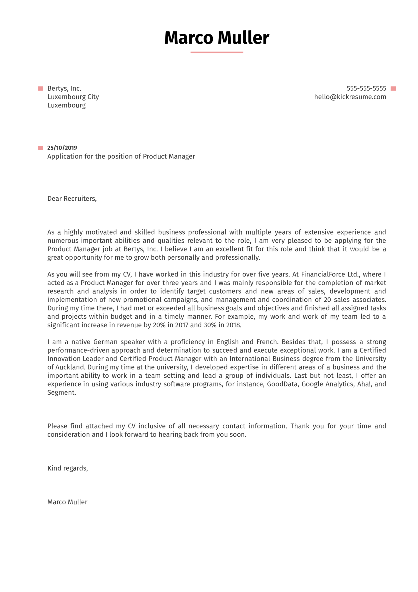 Product Manager Cover Letter Example