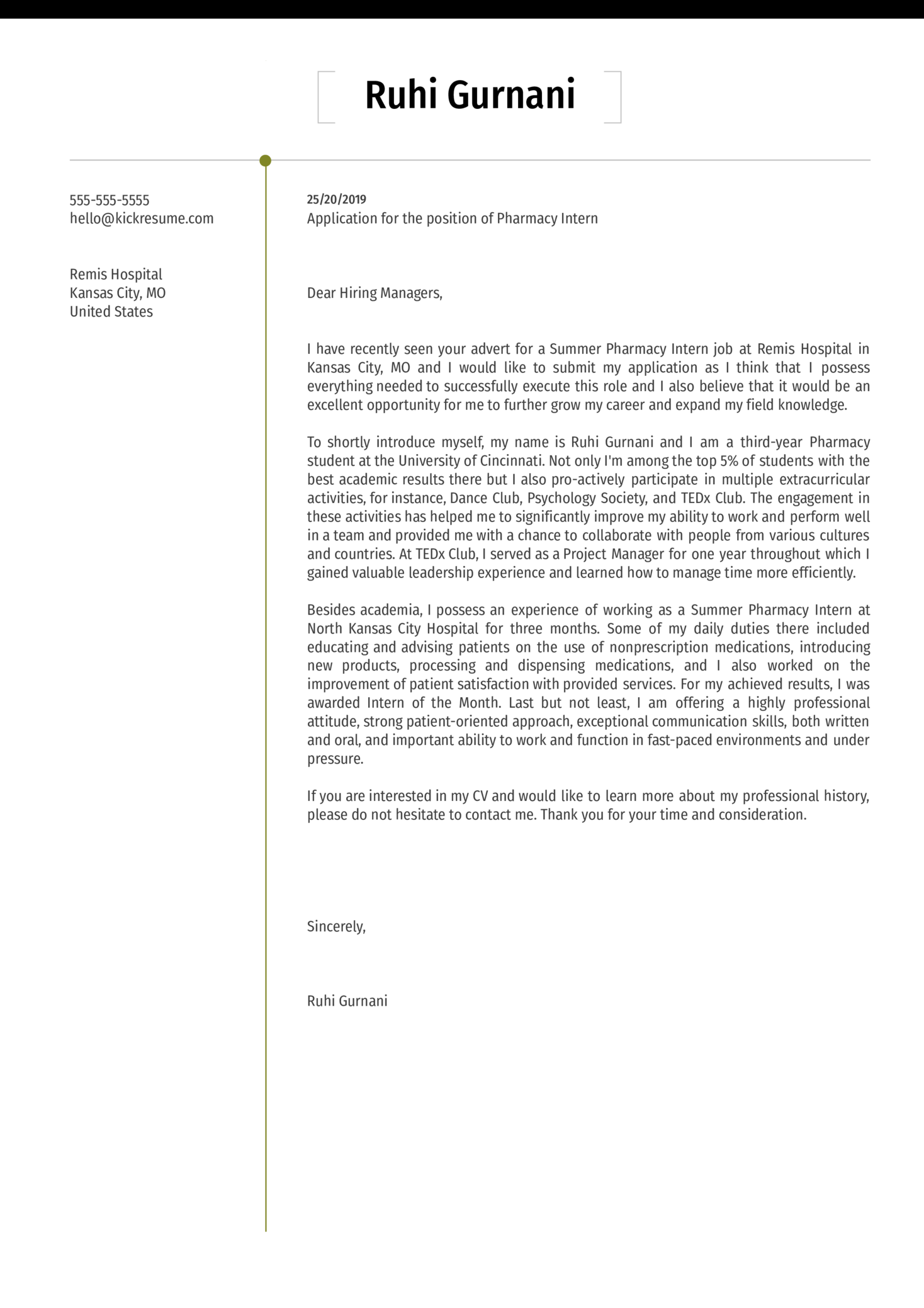 Pharmacy Intern Cover Letter Example