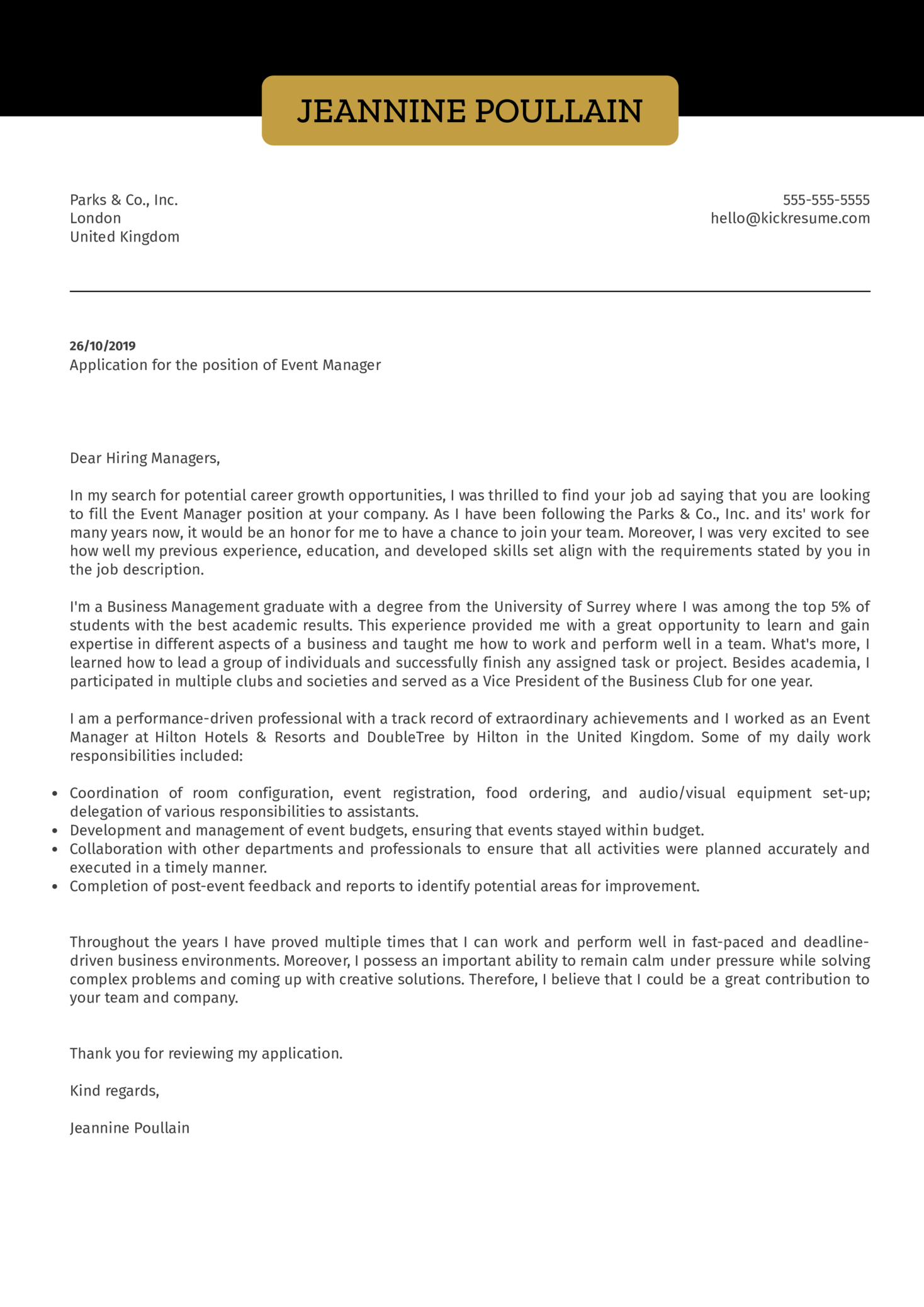 Event Manager Cover Letter Example